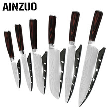AINZUO Damascus Pattern Kitchen Knives 7cr17 Stainless Steel Knife Set Color Wood Handle Fruit Vegetable Meat Cooking Tools