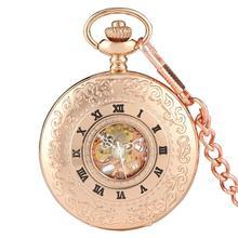 2020 בציר חלול רומי מספרי שלד מכאני יד רוח שעון כיס Montre Gousset עם שרשרת גברים נשים מתנה