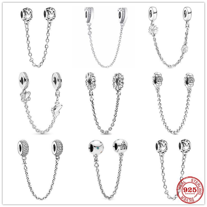 Silver 925 Sparkling Clear Sparkle Flower Safety Chain Charm Bead Fit Original Pandora Bracelet Pendant DIY Jewelry For Women
