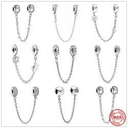 Prata 925 cintilante claro brilho flor corrente de segurança charme talão caber pandora original pulseira pingente jóias diy para mulher