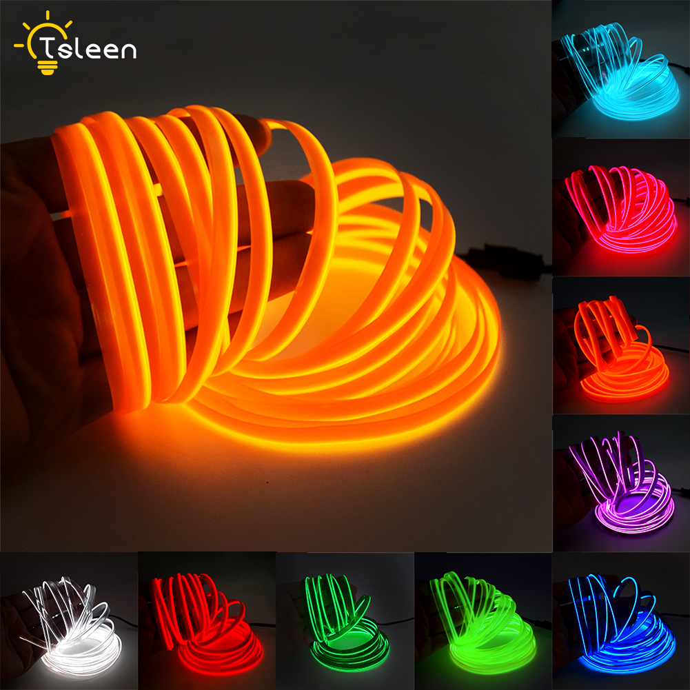 2m 5m EL Wire With 7.5mm Sewing Edge Flexible Neon Lamp Glow Rope Tube Cable LED Strip Light For Car Decoration Waterproof