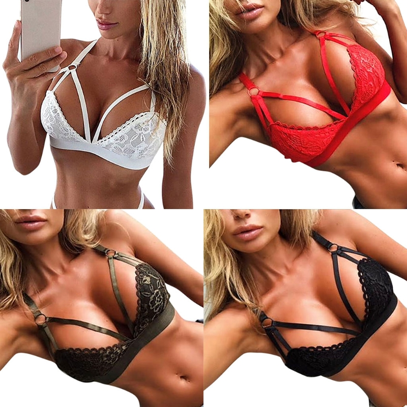 Womens Sexy Bralette Lace Lingerie Deep V Sling Hollow Bra Underwear Plus Size S-5XL