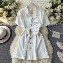 Fitaylor Summer Spring Pocket Bag Sashes Notched Office Ladies Buttons Single Breasted Women Female