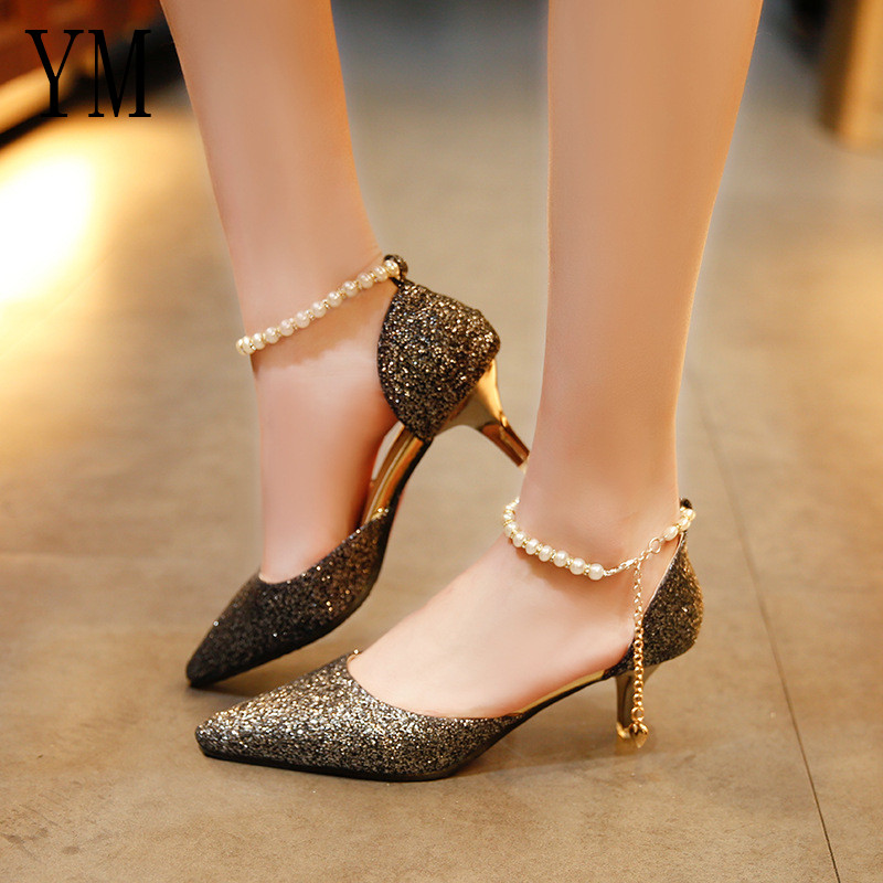 Sexy Pointed toe Pearl High heels shoes Female Fashion hollow with Sandals Paillette of the Thin Breathable shoes Women Pumps 2