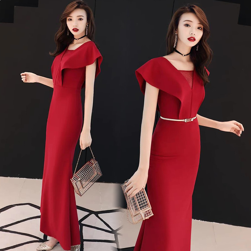 Red Bridesmaid Dress Mermaid Elegant V-neck Guest Wedding Party Dress Ladies Long Gowns Black Dress For Dinner Sexy Prom Vestido