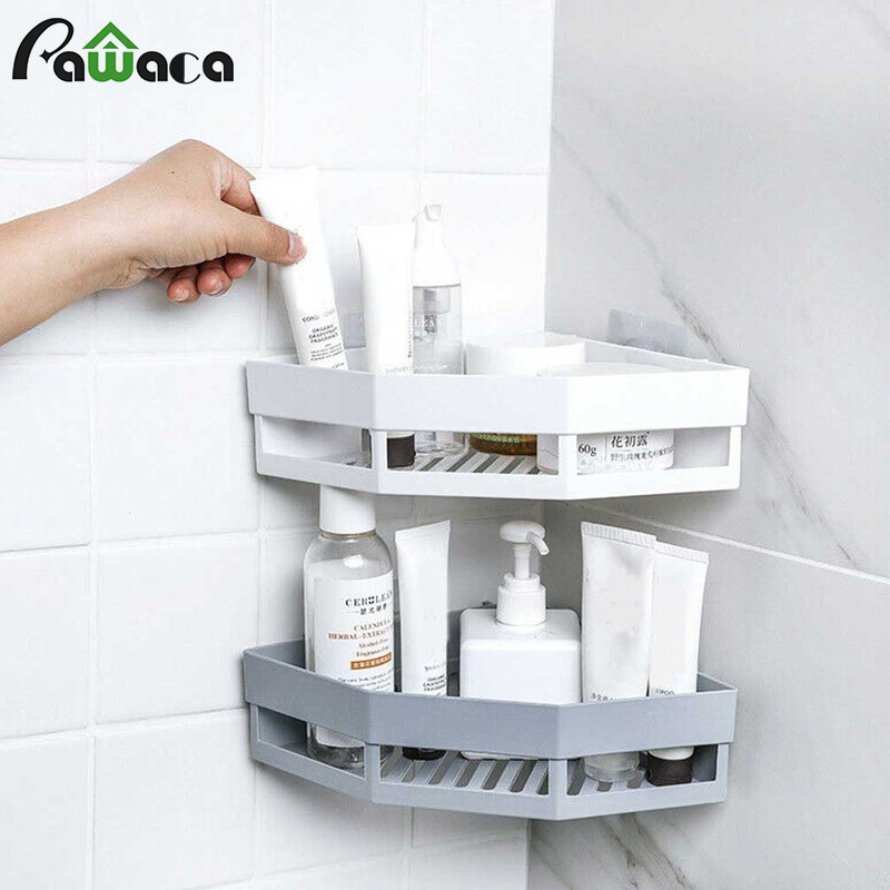 Punch-free Corner Bathroom Shampoo Shower Shelf Storage Rack Snap Up Holder Organizer Wall-mounted Kitchen Bathroom Accessories