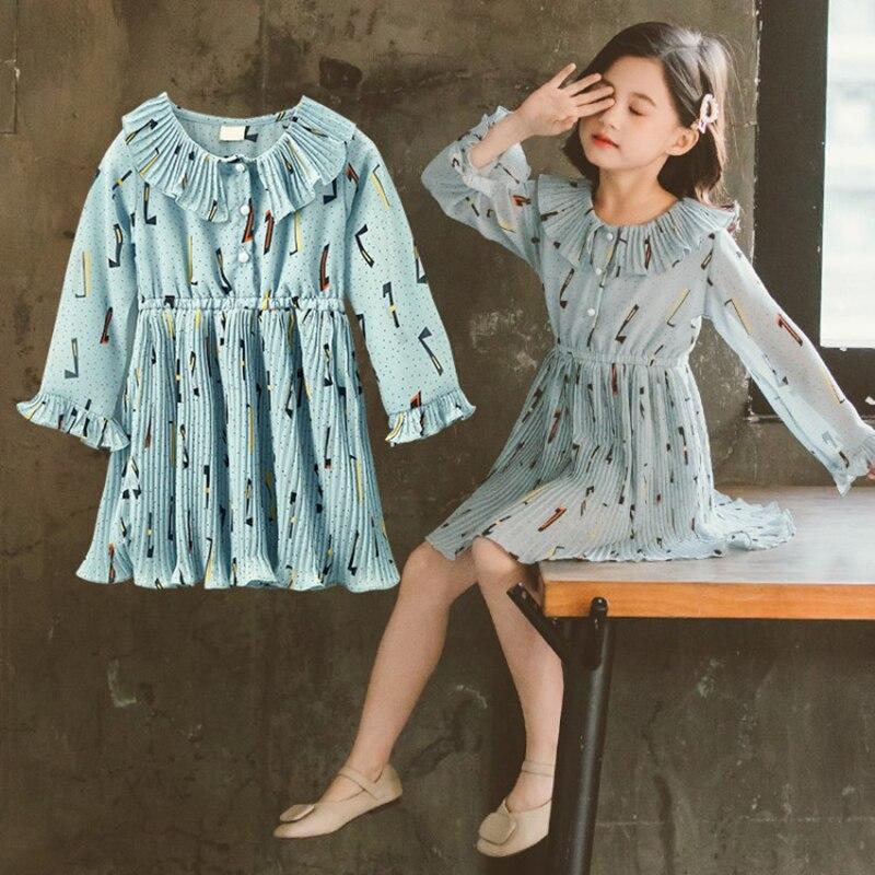 Vestido de chifón de primavera y otoño para niña vestido floral de manga larga para niña vestido de princesa hipster para niña vestido de cintura