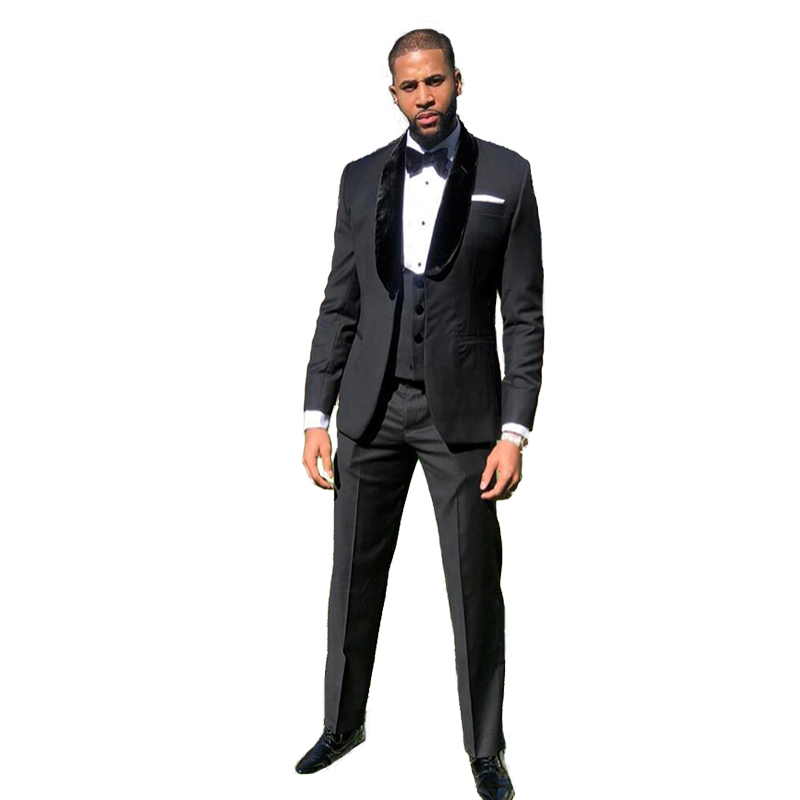 Black Wedding Tuxedos  Big Shawl Slim Fit Groom Suits Groomsmen Prom Party Dinner Business Three Piece Suits (Jacket+Pants+Vest)