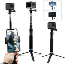 TELESIN 6 في 1 تمديد سبائك الألومنيوم Selfie عصا تمديد Monopod مع الدورية كليب ترايبود حامل ل GoPro بطل 9 SJCAM