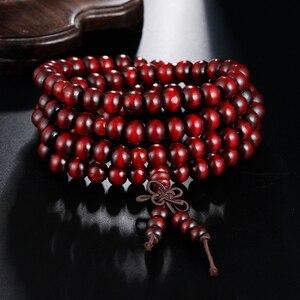 Image 4 - 1Pcs 8mm Natürliche Sandelholz Buddhistischen Buddha Meditation Holz Gebetskette Mala Armband Armreifen Frauen Männer Schmuck 108 Perlen bijoux