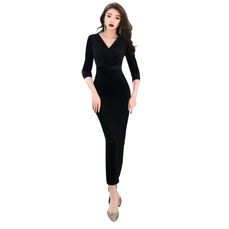 Evening Dress Black Long Sleeve Elegant Robe De Soiree Zipper Women Party Dresses 2019 Plus Size Sexy V neck Formal Gowns F011 in Evening Dresses from Weddings Events