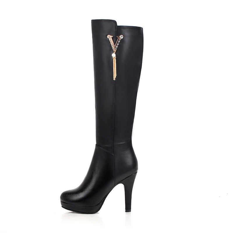 2019 Giày Nữ Mùa Đông Đầu Gối Cao Giày Đế Cao 10.5 Cm Gót Dài Giày Lớn Kích Thước 43 Mũi Tròn Gợi Cảm giày Bottes Femme Đen