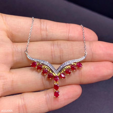 KJJEAXCMY boutique jewelry 925 sterling silver inlaid natural ruby female pendant pendant geometry support detection trendy water drop blue cubic zirconia white cz 925 sterling silver jewelry sets for women earrings pendant necklace bracelet