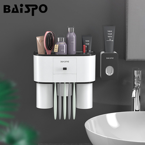 Baispo titular escova de dentes automático dispensador de dentes squeezer para banheiro rack armazenamento montagem na parede acessórios do banheiro conjuntos Conjuntos de acessórios para banheiro     -