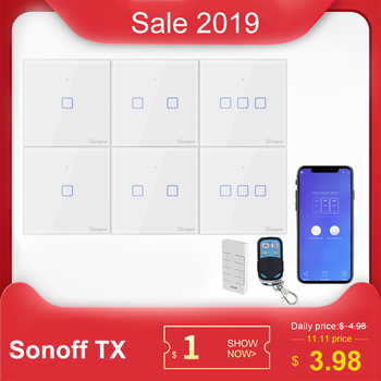 SONOFF T1 EU/UK Wall Touch Switch Light Panel Glass Screen 1/2/3 Gang Wifi Touch/APP/RF 433mhz Remote Control Smart Home Alexa 1