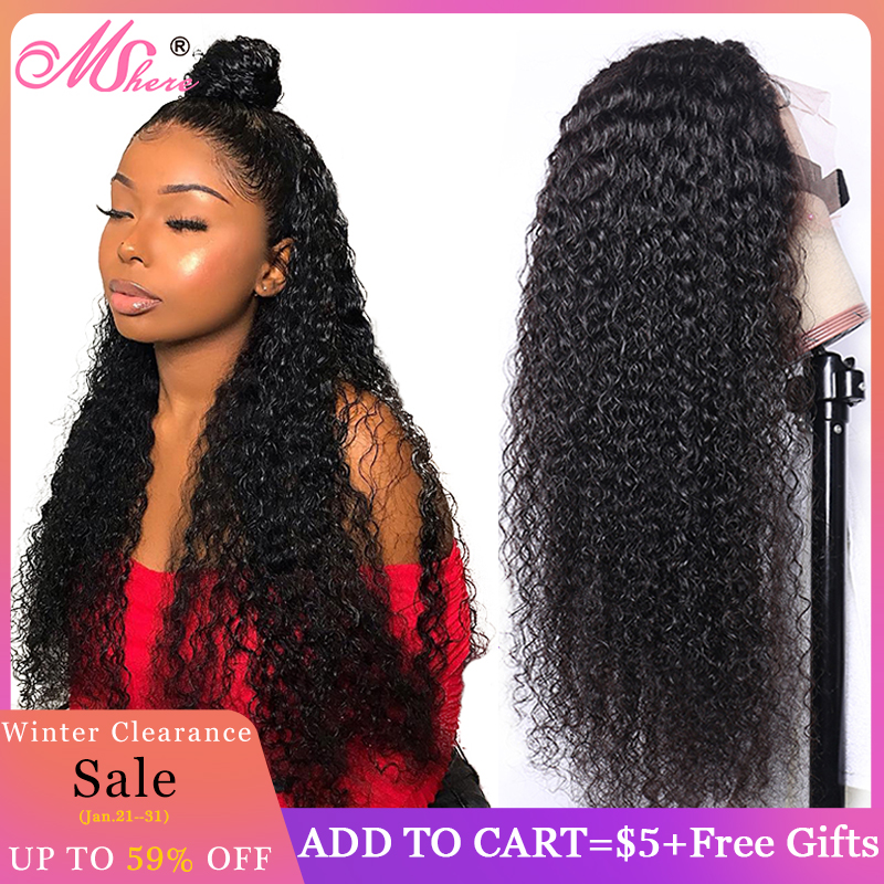 Mshere Peruvian Curly Human Hair Wig Glueless Lace Front Human Hair Wig With Baby Hair Pre Plucked Remy Hair 150% Density
