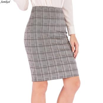 Mujer alta cintura Vintage amarillo cuadros algodon lápiz faldas escuela chica cremallera...