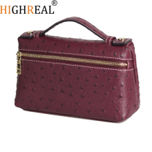 New Customize Design with Ostrich Pattern Genuine Leather Handbags Female Party Clutch Bag Trendy Bag trendy women s clutch bag with metal and gradient color design