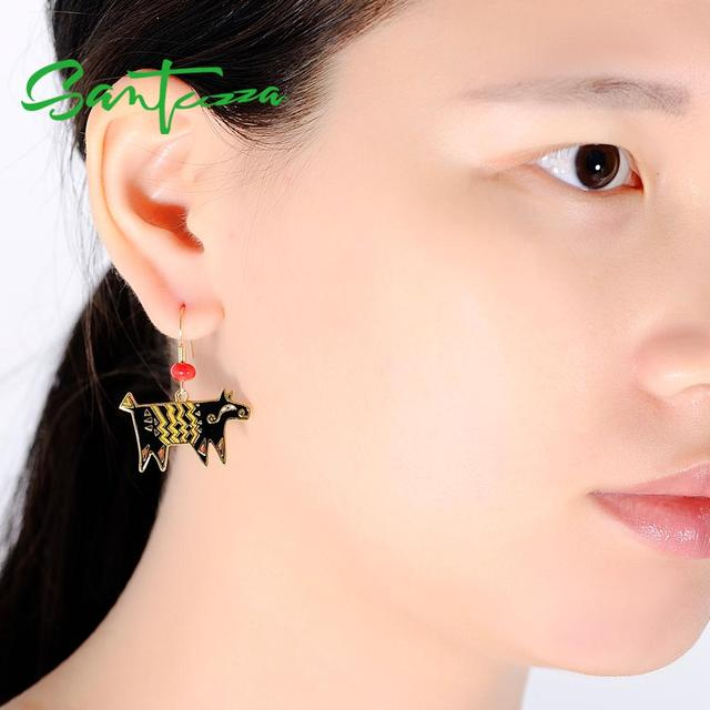 SANTUZZA Brass Earrings for Women Yellow Gold Color Red Sea BamBoo HANDMADE Enamel Dog Earrings Party Fashion Jewelry