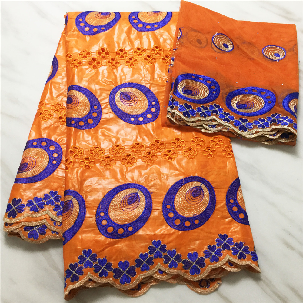 2020 New arrival african bazin riche fabric with Orange Eyelet Bazin fabric guinea brocade fabric for wedding dress BL306