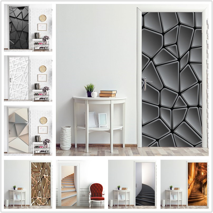 2PCS/Set Simple Geometric Wallpaper On The Door Home Decor Door Stickers Self Stick Stairs Pattern Waterproof Renovation Poster