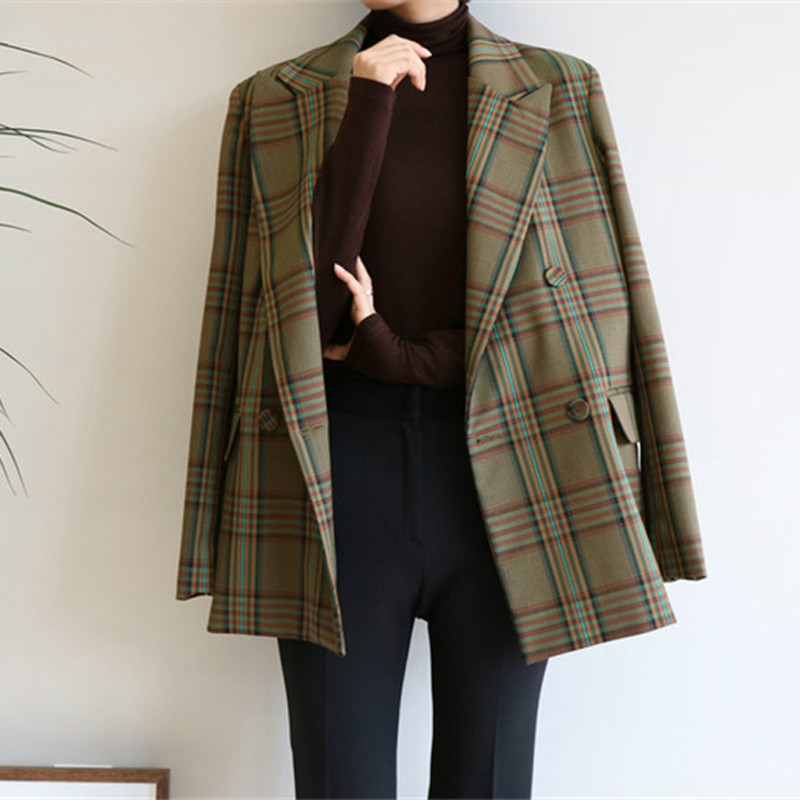 Drop Swhipping Vintage Double-breasted Loose  Women Jacket Blazer Elegant Plaid Women Suit Coat Female Outerwear Blaser Feminina