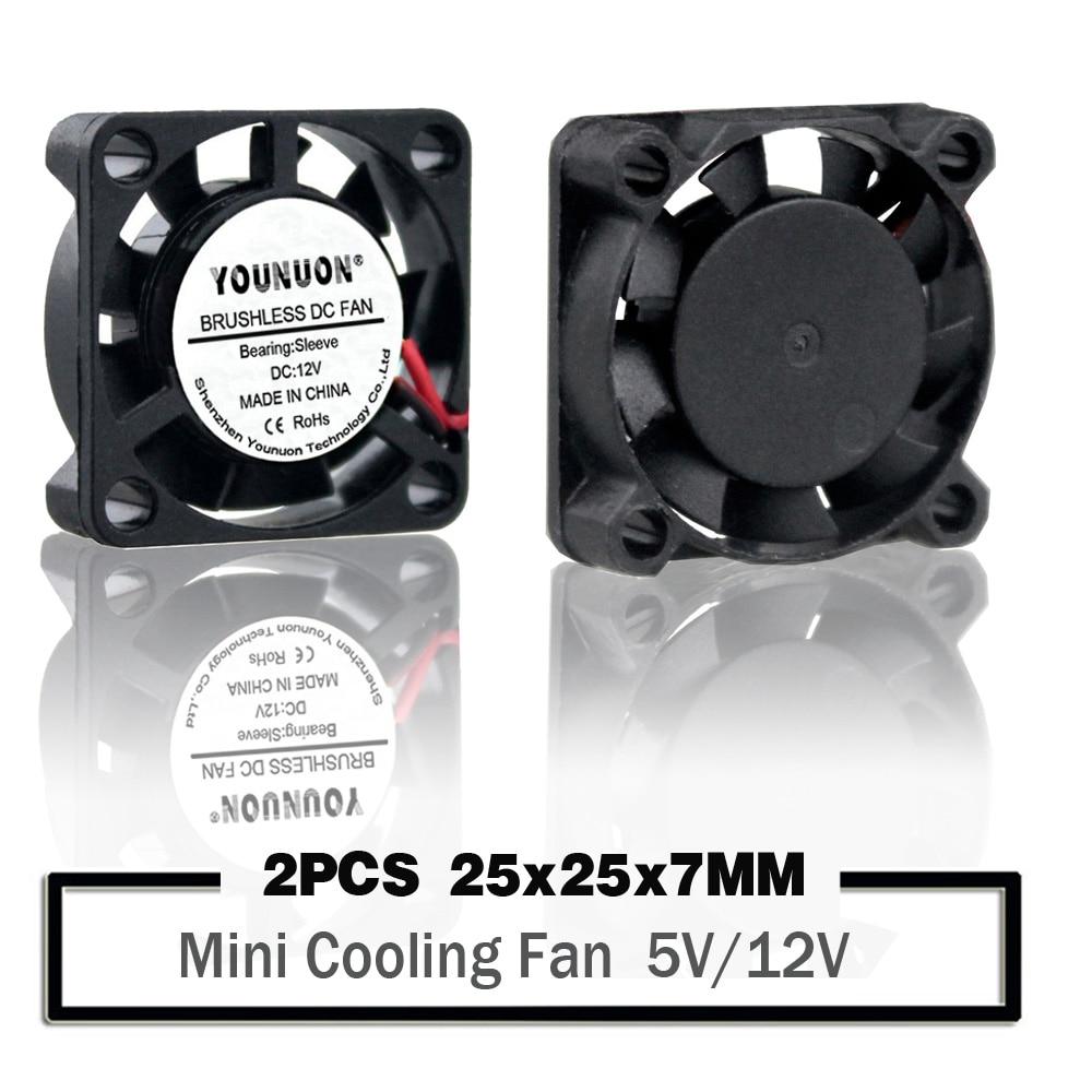 2Pcs YOUNUON 25mm 5V 12V Cooling Fan 25mmx25mmx7mm DC Brushless Mini Cooler Fan 2507 25x7mm Cooling Radiator Heatsinks Fan