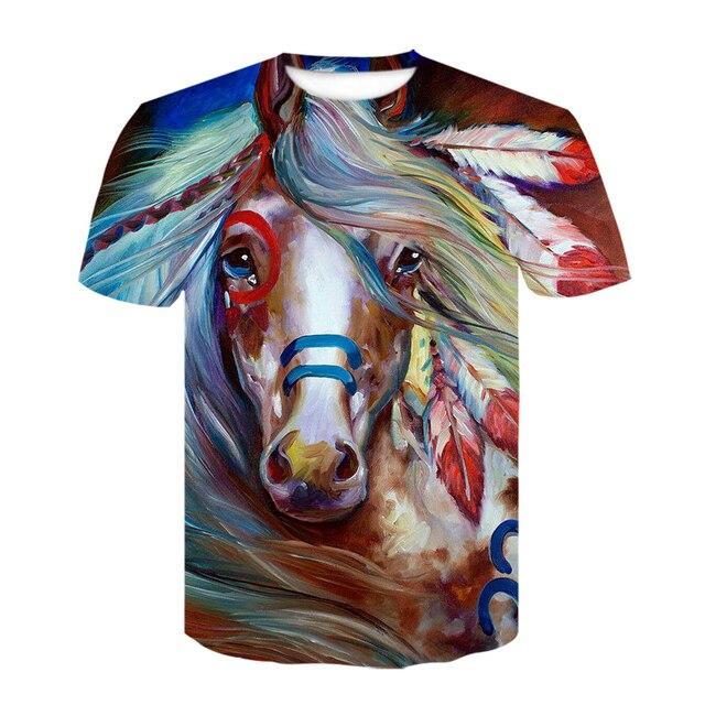 Summer New O-neck Wearing A flower Headband Horse T-Shirt 3D Fashion T Shirt Animal Clothes Men Women Large Size Tshirt Dropship 5