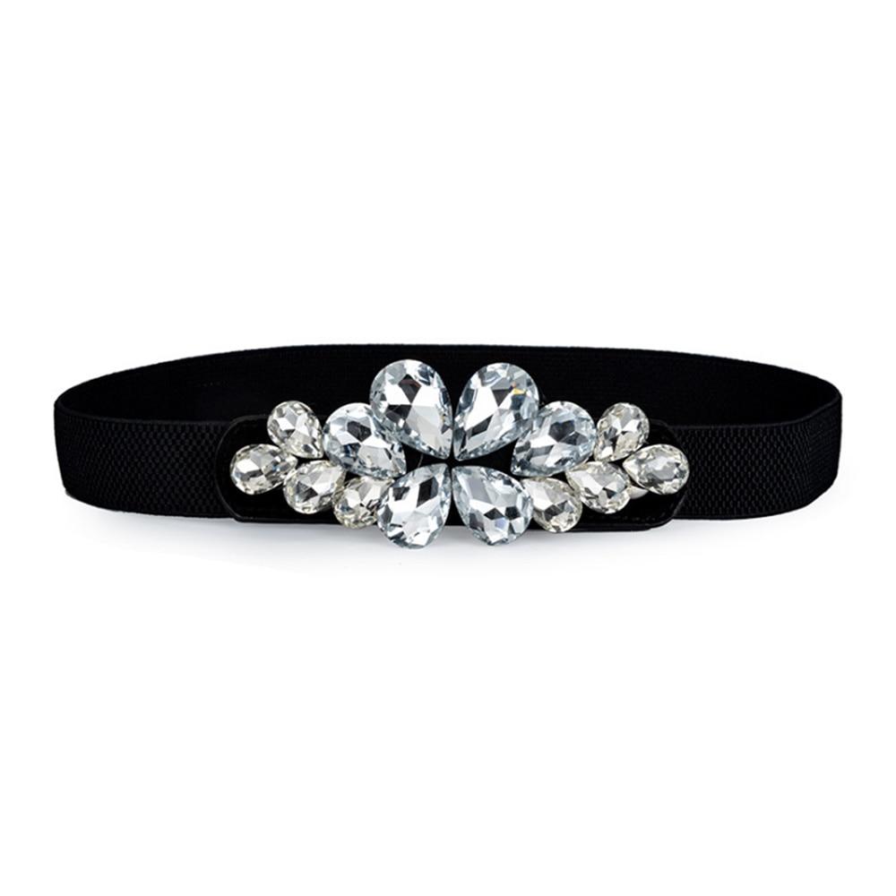 [AETRENDS] Women's Rhinestone Skinny Cinch Belt Floral Elastic Cummerbunds Waistband For Lady D-0139