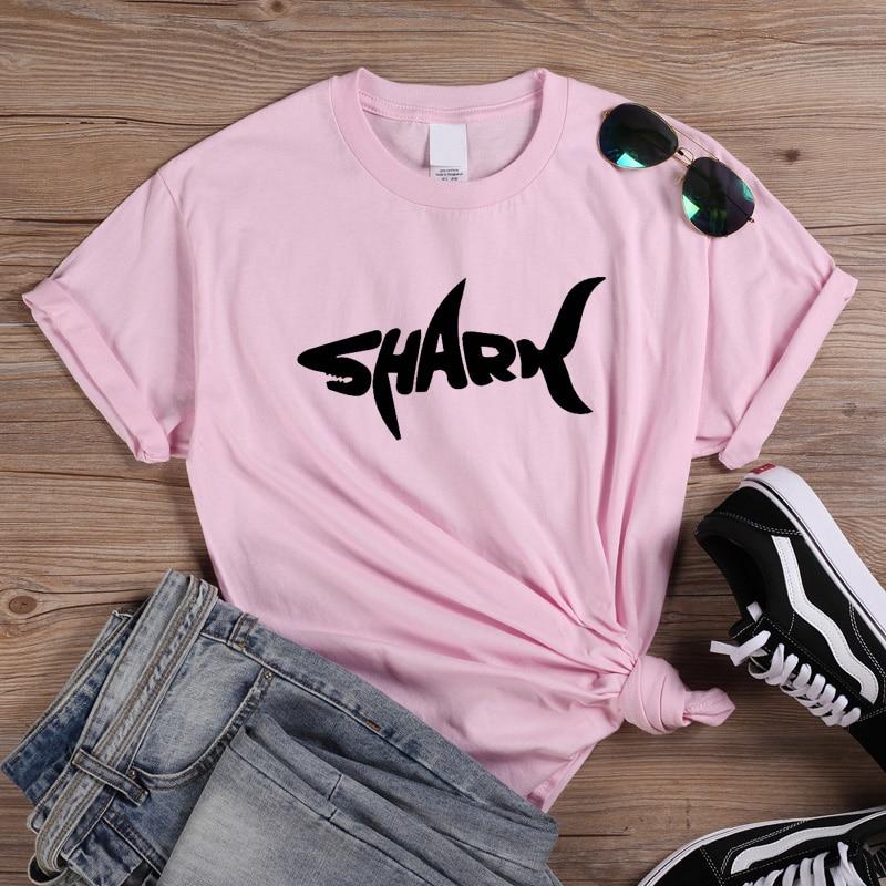 ONSEME Shark Graphic Tees Women Clothes 2019 Kawaii Summer Cotton Short Sleeve O-neck Tshirt Korean Clothes For Lady Girls Q-913