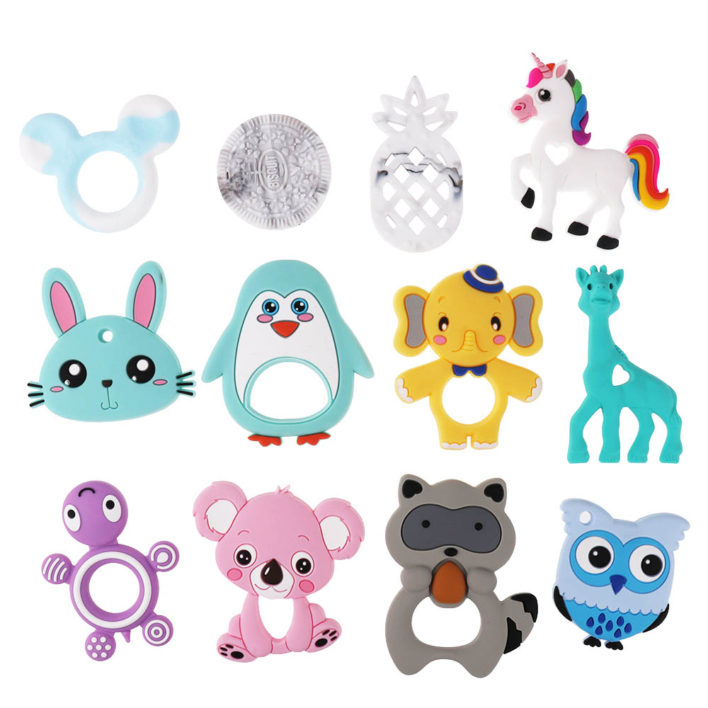 1Pc Food Grade Silicone Koala Teether Beads BPA Free For Baby Teething Raccoon Necklace Giraffe Pendant Penguin Toy