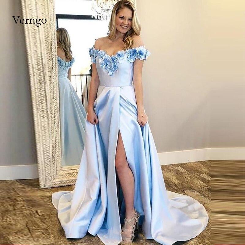 Verngo A Line Evening Dress Formal Dress Blue Stain Evening Dresses Long Princess Party Gowns Vintage Vestidos Elegantes