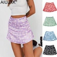 AIUJXK New 2021 Leopard Mini Skirts Women Fashion Daisy Floral Print Satin Skirt Woman Casual High Waist Summer Cute Girl Jupes