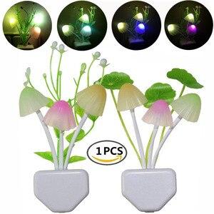 Image 1 - לילה אור 7 צבע שינוי חשכה לשחר חיישן LED לילה אורות פרח פטריות מנורת שינה Babyroom מנורות לילדים מתנות