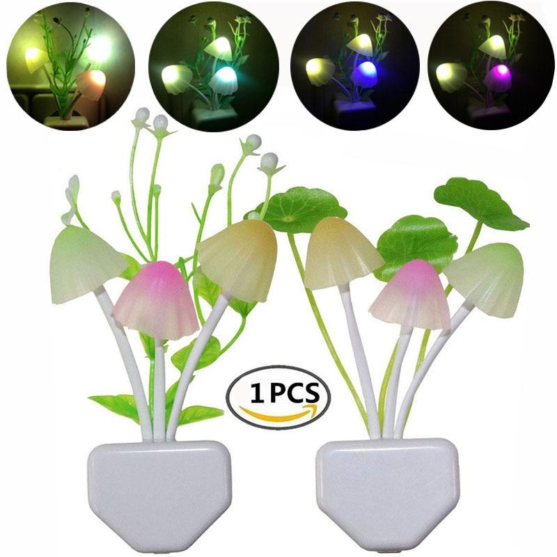 Night Light 7 Color Changing Dusk To Dawn Sensor LED Night Lights Flower Mushroom Lamp Bedroom Babyroom Lamps For Kids Gifts