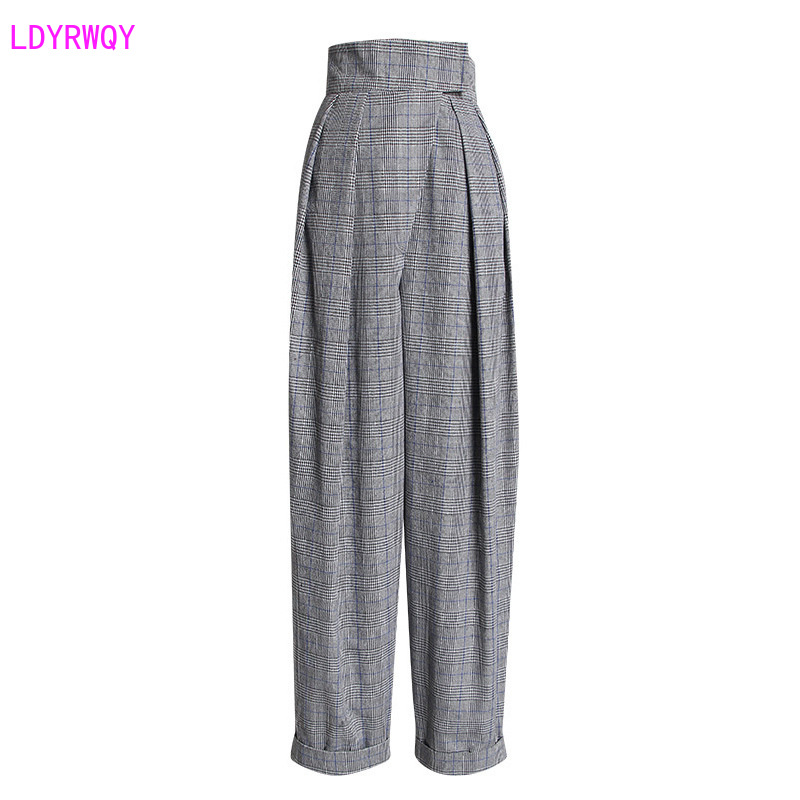 2019 Autumn New Women's Retro Accented Hipster Check High Waist Was Thin Cuffed Casual Harem Trousers