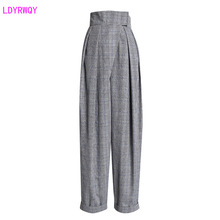 2019 autumn new womens retro accented hipster check high waist was thin cuffed casual harem trousers