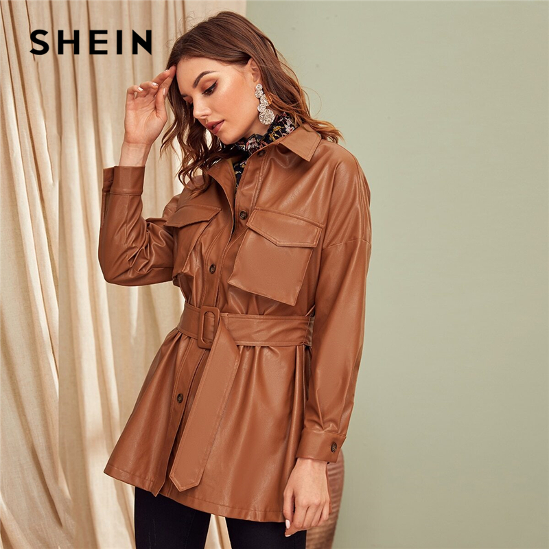SHEIN Brown Flap Pocket Front Faux Leather Belted Coat Women Spring Winter Solid Long Sleeve Casual Outwear PU Coats 1