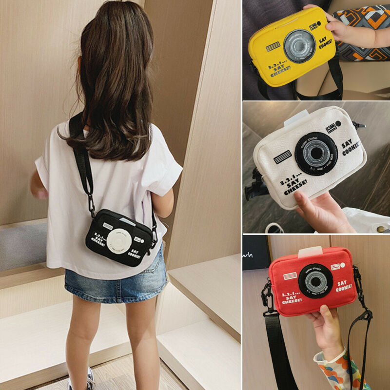 Fashion Kids Girl Mini Canvas Handbag Shoulder Bag Camera Style Bag Messenger Handbag Crossbody Purse Satchel Waist Pack