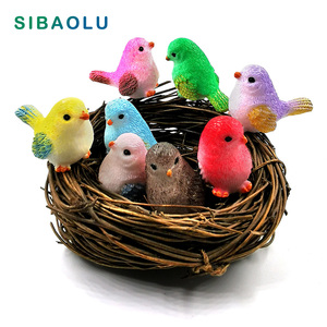 8pcs Artificial Little Parrot bird Nest figurine animal Model home decor miniature fairy garden decoration accessories modern