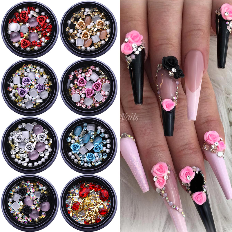 1Box 3D Nail Rhinestones Stones Mixed Colorful Decals With Nail Curved Tweezer Crystals Nail Art DIY Design Decorations