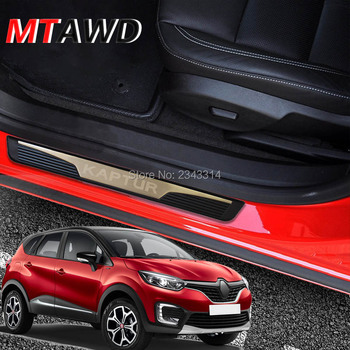 For Renault CAPTUR KAPTUR 2014-2019 2020 Accessories Stainless Door Sill Scuff Kick Plate Protector Trim Guard Cover Car Styling for car styling sticker mazda 3 2014 2019 stainless door sill sills kick scuff plate protector trim cover guard auto accessories