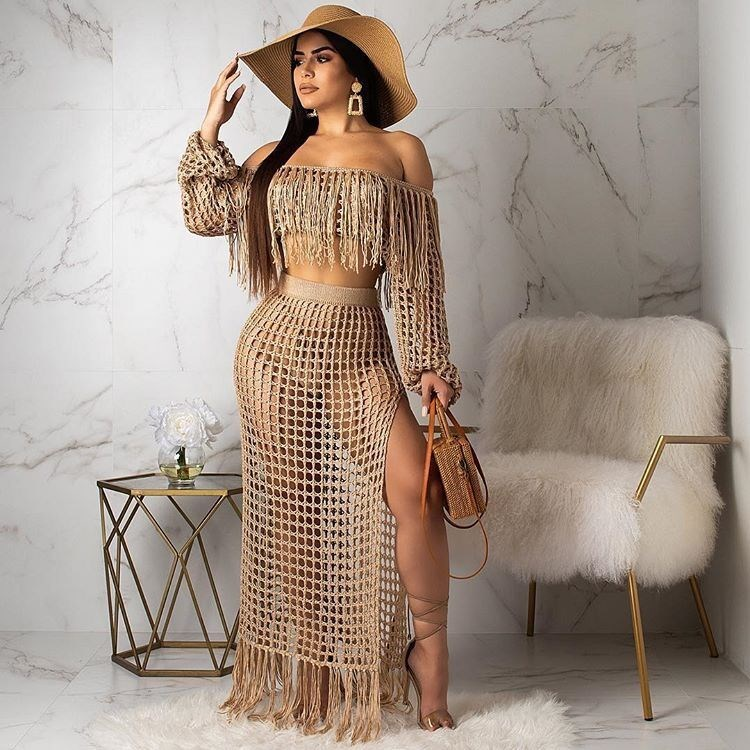 Women Summer Mesh Grid See Though Tassel Off Shoulder Two Piece Sets Short Crop Top Side Split Maxi Skirts 2 Piece Set