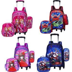 Wenjie brother/детские школьные сумки Mochilas с колесной тележкой, багаж для мальчиков и девочек, рюкзак Mochila Infantil Bolsas