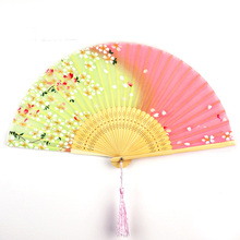 Cooling Summer Folding Fan Vintage Chinese Silk Bamboo Lady Pocket Ethnic Crafts  Wedding Gifts Party Supplies