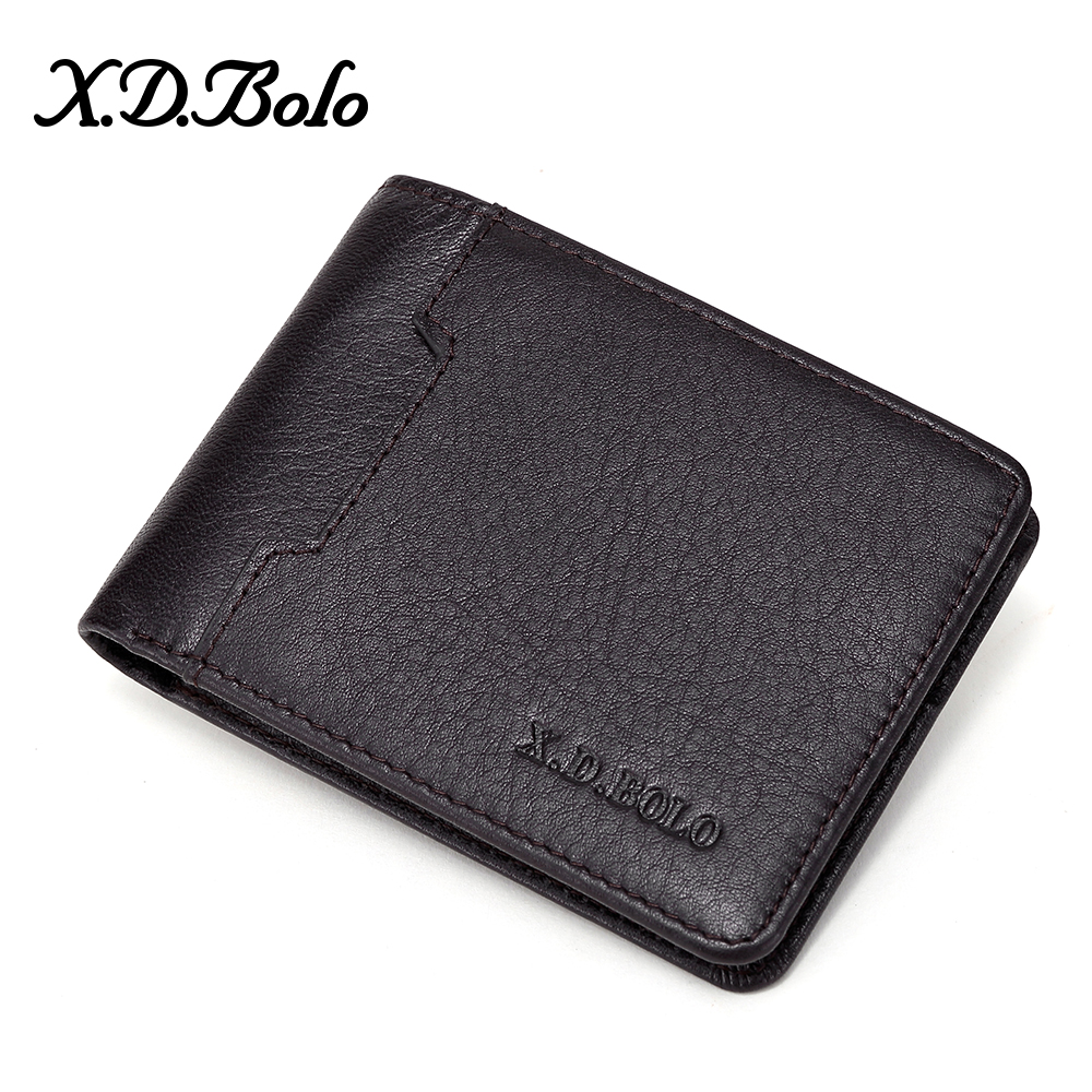 XDBOLO Genuine Leather Men Wallet Purses Coin Purse Male Small Portomonee Bifold Leather Wallet Man Purse For Men Money Bag