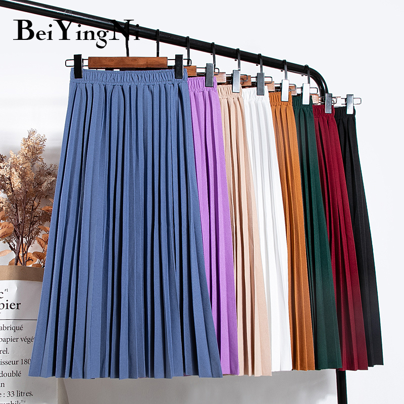 Beiyingni Women Vintage New Fashion Skirt Elastic High Waist Pleated Leisure Retro Skirt Female Streetwear Luxury Faldas Clothes