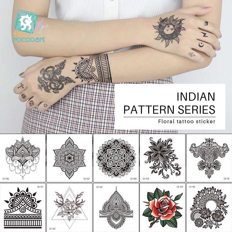 1 PC Women Sexy Arm Fake Black Tattoo Henna Mandala Flower Temporary Tattoo Girls Beauty Flora Waterproof Tatoos Indian Mehndi
