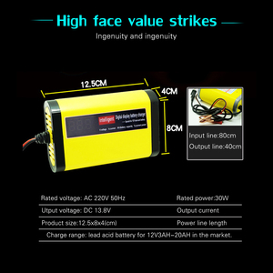 Image 4 - 12V 2A LCD Display Smart Motorcycle Car Battery Charger Full Automatic 3 Stages Lead Acid AGM GEL Intelligent 12 Volt 10AH 20AH