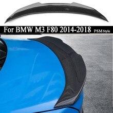 Carro de fibra carbono asa traseira tronco tampa spoiler asa para bmw m3 f80 2014 2015 2016 2017 2018